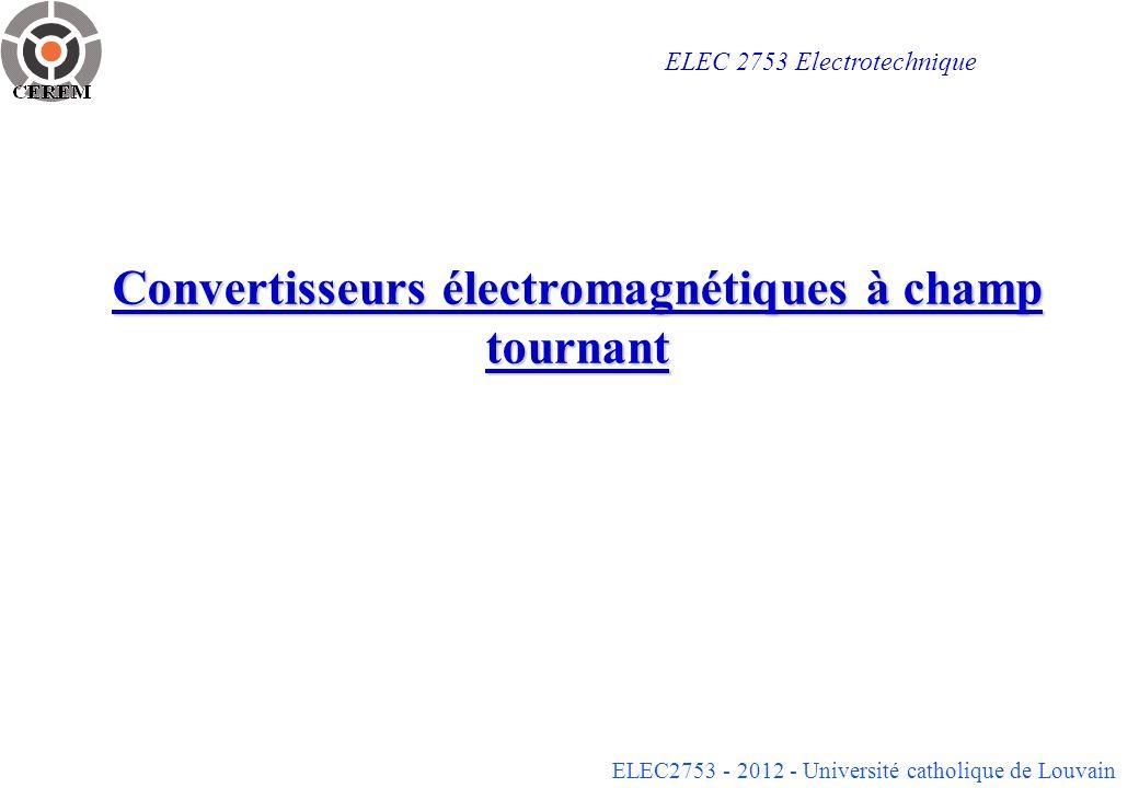 ELEC2753 - 2012 - Université catholique de Louvain 22 Prise en compte des fuites magnétiques En tenant compte de champs de fuite, il vient: - les inductances propres des bobinages du stator sont légèrement supérieures à n s M sr / n r et les inductances propres des bobinages du rotor légèrement supérieures à n r M sr / n s : - les inductances mutuelles M s entre les bobinages du stator sont légèrement inférieures à L s cos(2 /3) et légèrement supérieures à - les inductances mutuelles M r entre les bobinages du rotor sont légèrement inférieures à L r cos(2 /3) et légèrement supérieures à Note: reste vrai si la perméabilité des matériaux ferromagnétiques nest pas infinie, mais il faut en principe supposer que leur caractéristique est linéaire pour pouvoir parler dinductance.