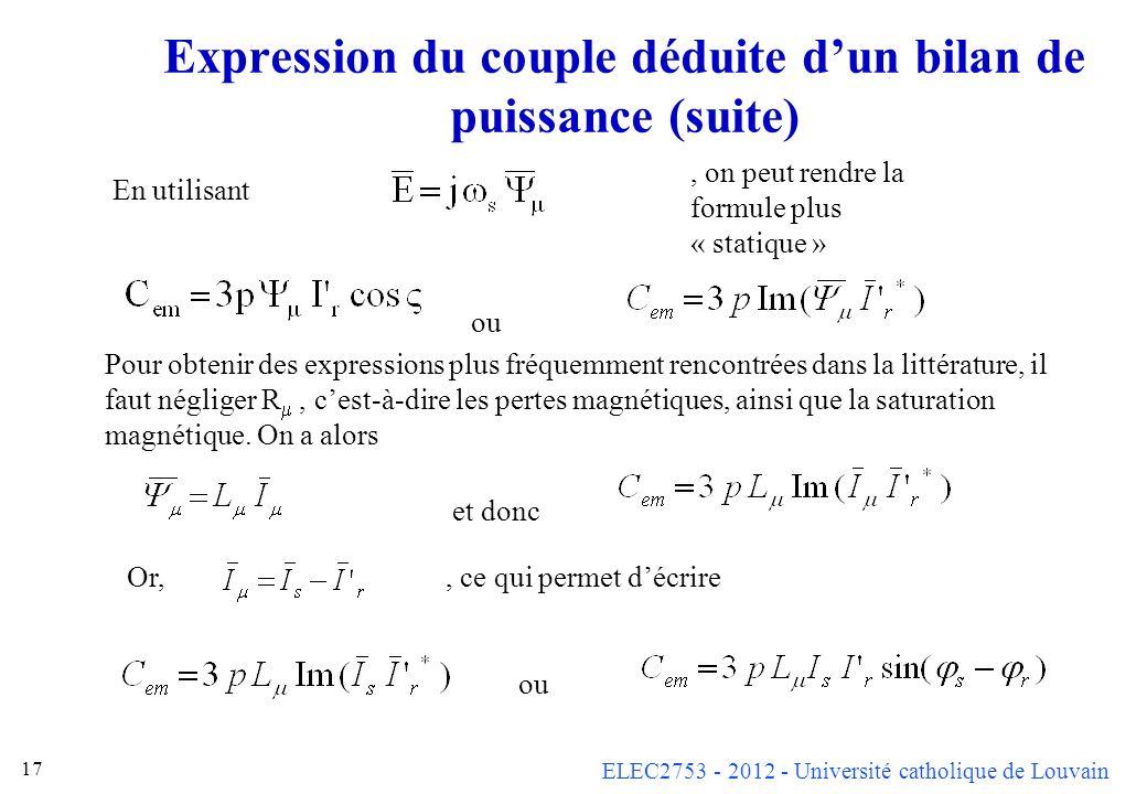 ELEC2753 - 2012 - Université catholique de Louvain 17 Expression du couple déduite dun bilan de puissance (suite) En utilisant, on peut rendre la form