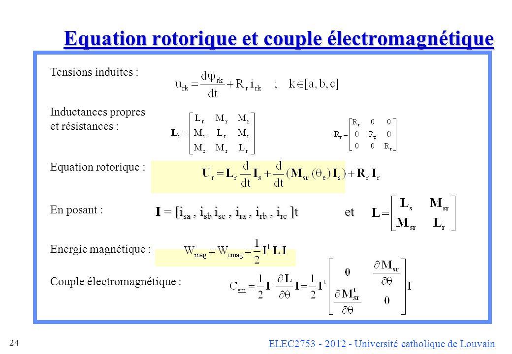 ELEC2753 - 2012 - Université catholique de Louvain 24 Equation rotorique et couple électromagnétique Tensions induites : Inductances propres et résist