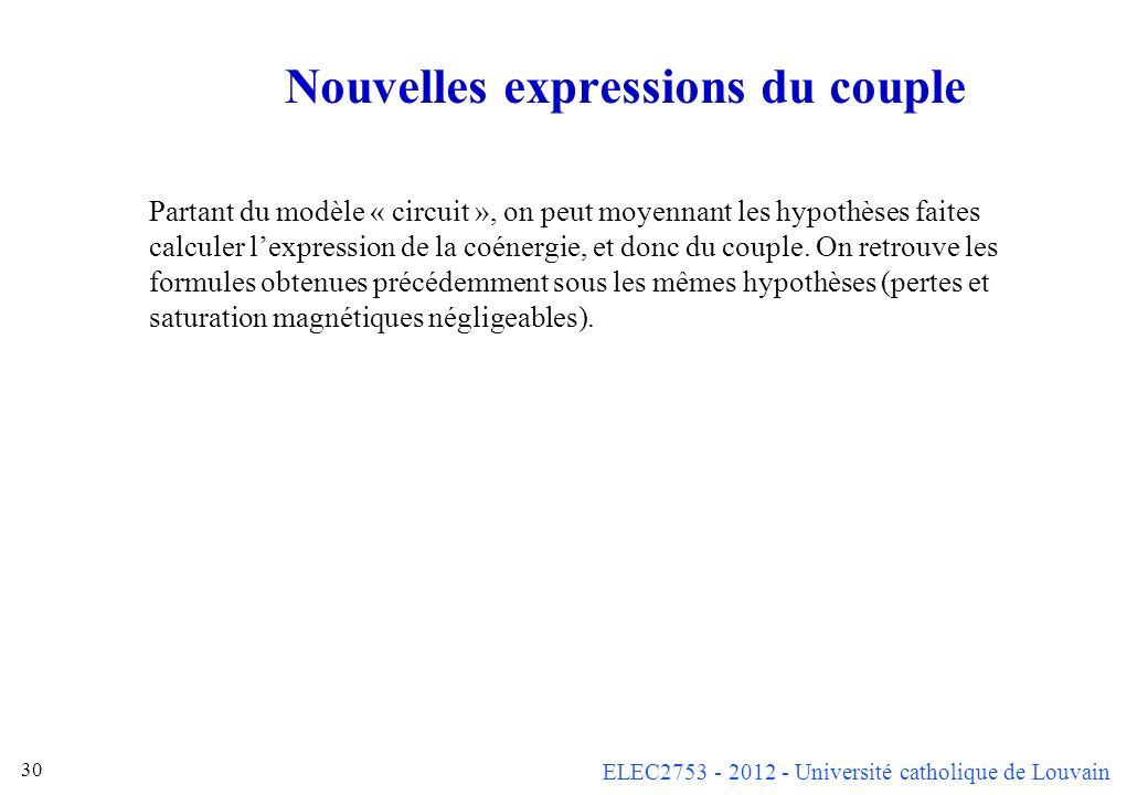 ELEC2753 - 2012 - Université catholique de Louvain 30 Nouvelles expressions du couple Partant du modèle « circuit », on peut moyennant les hypothèses
