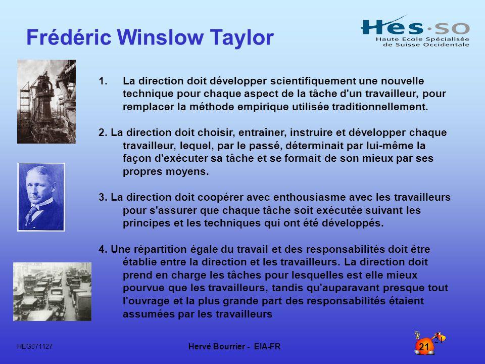 Hervé Bourrier - EIA-FR 21 HEG071127 21 1. 1.La direction doit développer scientifiquement une nouvelle technique pour chaque aspect de la tâche d'un
