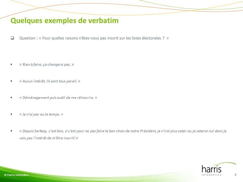 Quelques exemples de verbatim © Harris Interactive 5 Question : « Pour quelles raisons nêtes-vous pas inscrit sur les listes électorales ? » « Rien à