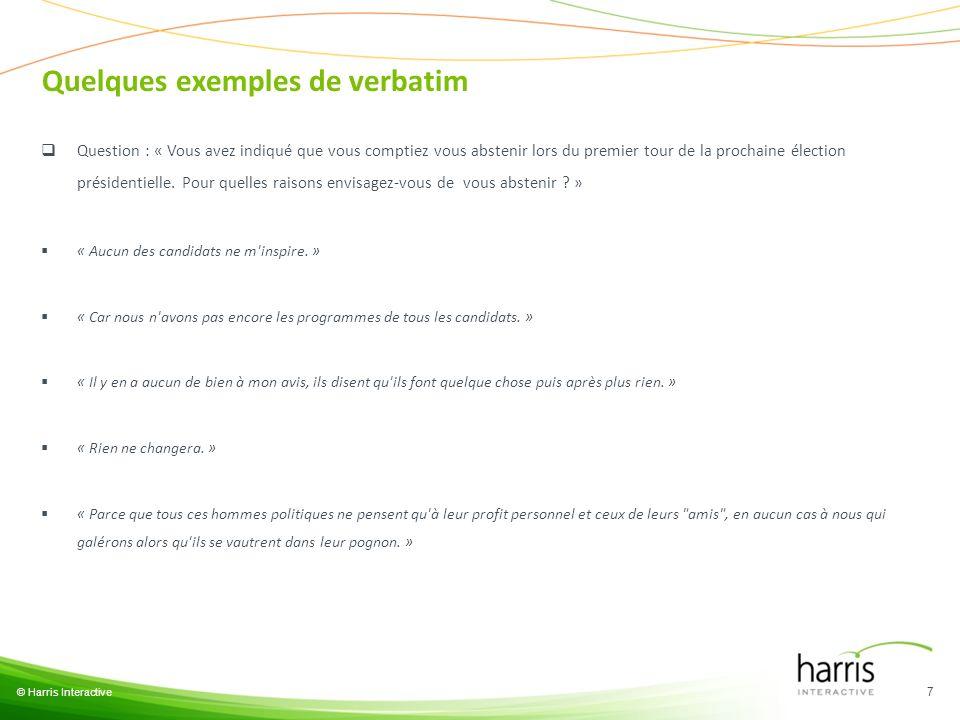 Quelques exemples de verbatim © Harris Interactive 7 Question : « Vous avez indiqué que vous comptiez vous abstenir lors du premier tour de la prochai