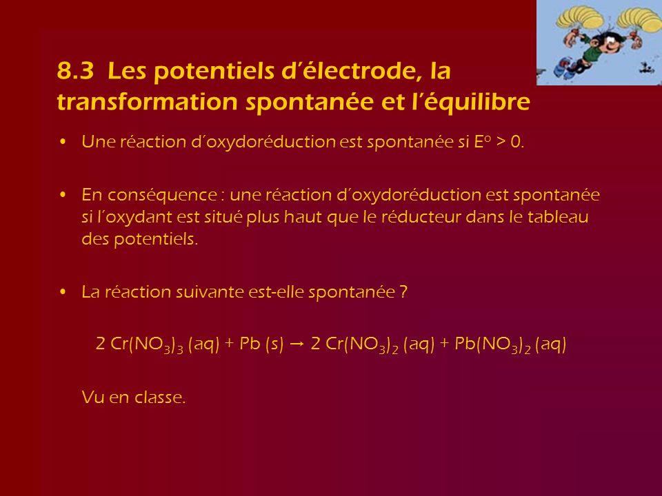 8.3 Les potentiels délectrode, la transformation spontanée et léquilibre Une réaction doxydoréduction est spontanée si E o > 0. En conséquence : une r