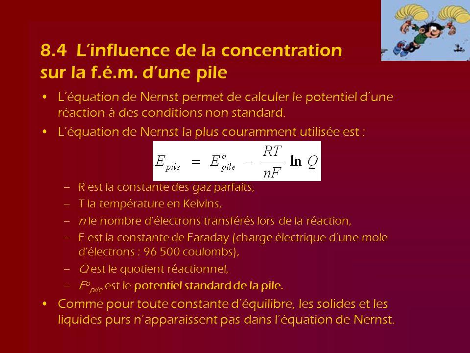 8.4 Linfluence de la concentration sur la f.é.m. dune pile Léquation de Nernst permet de calculer le potentiel dune réaction à des conditions non stan