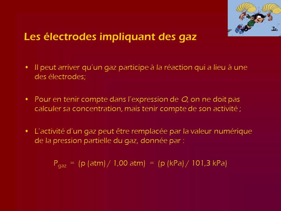 Les électrodes impliquant des gaz Il peut arriver quun gaz participe à la réaction qui a lieu à une des électrodes; Pour en tenir compte dans lexpress