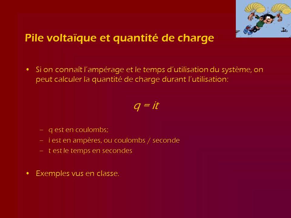 Pile voltaïque et quantité de charge Si on connaît lampérage et le temps dutilisation du système, on peut calculer la quantité de charge durant lutili