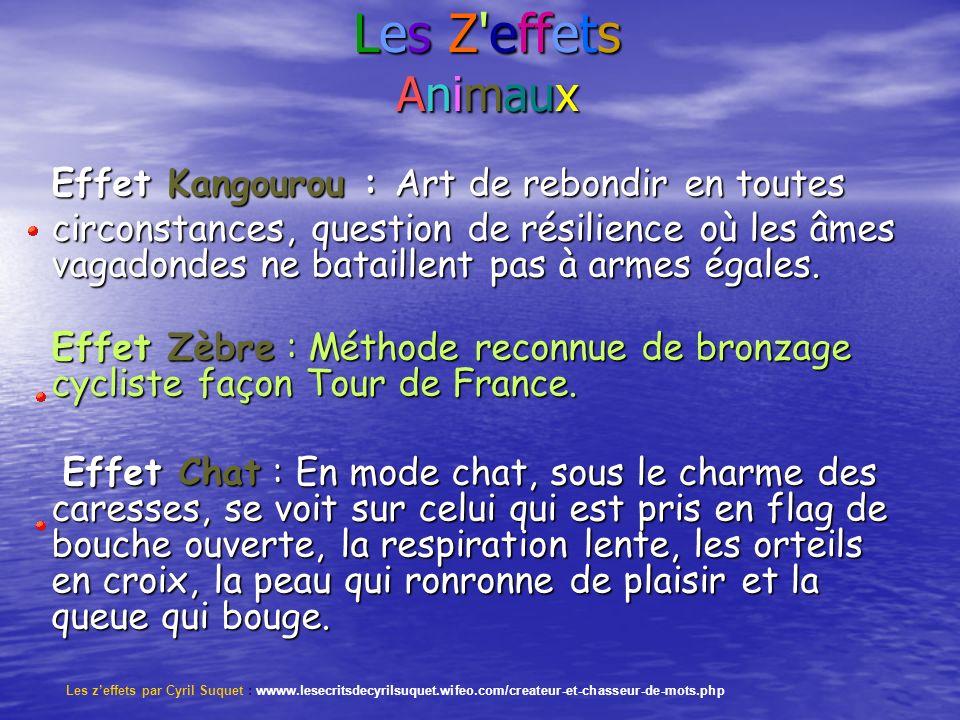 Les Z effets Animaux Les Z effets Animaux Effet Kangourou : Art de rebondir en toutes circonstances, question de résilience où les âmes vagadondes ne bataillent pas à armes égales.