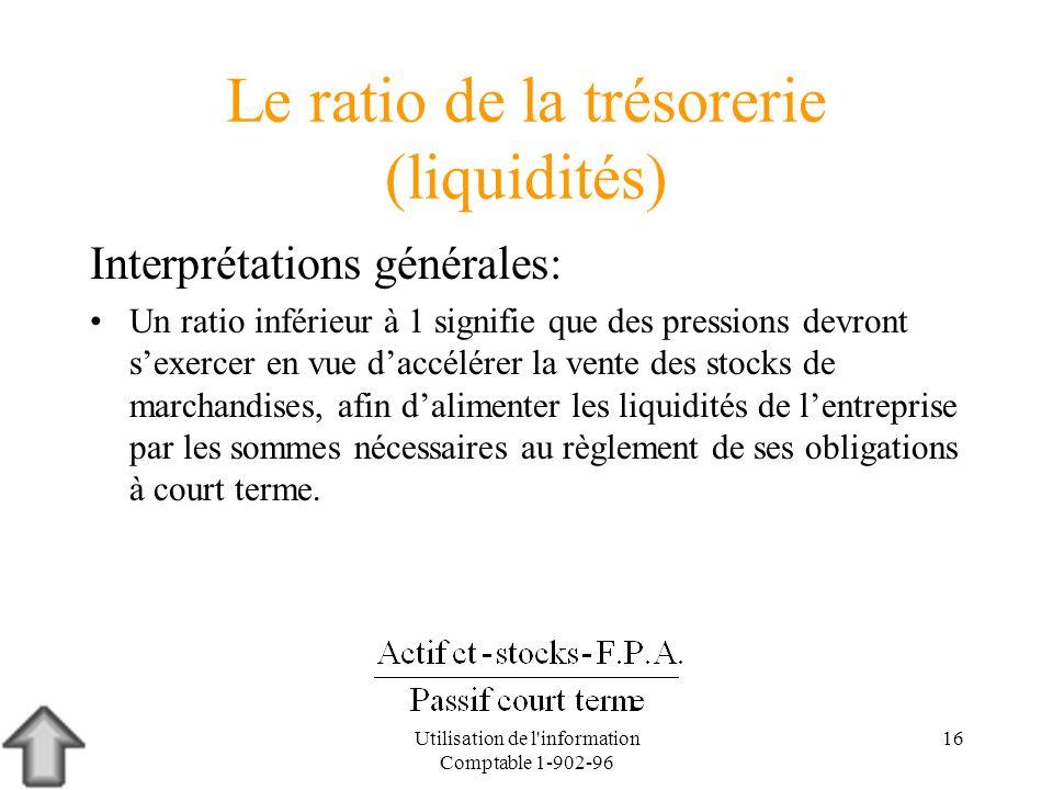 Utilisation de l'information Comptable 1-902-96 16 Le ratio de la trésorerie (liquidités) Interprétations générales: Un ratio inférieur à 1 signifie q