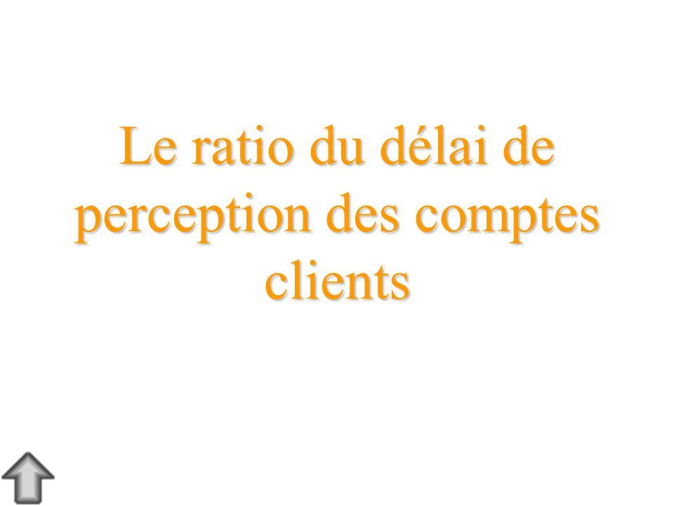 Le ratio du délai de perception des comptes clients