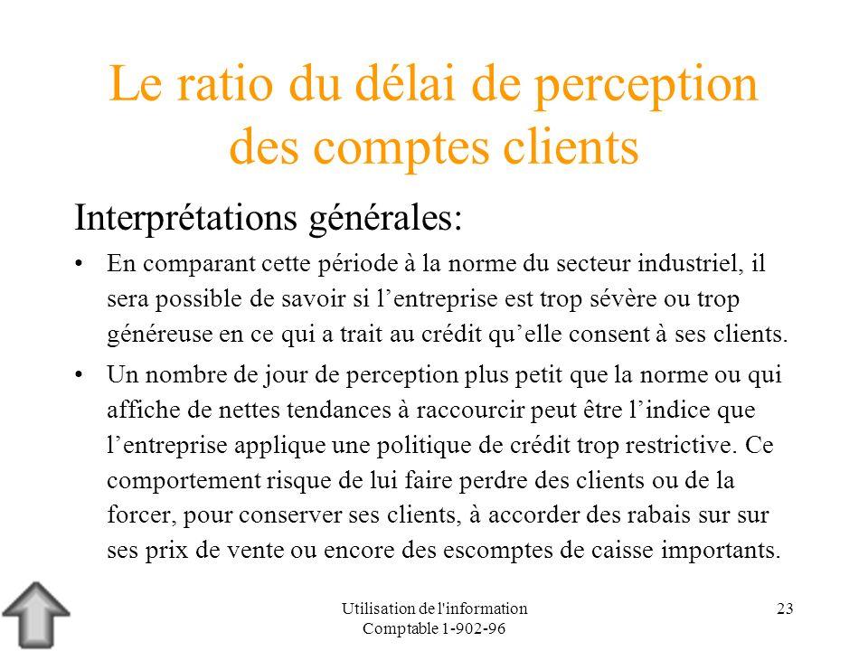 Utilisation de l'information Comptable 1-902-96 23 Le ratio du délai de perception des comptes clients Interprétations générales: En comparant cette p