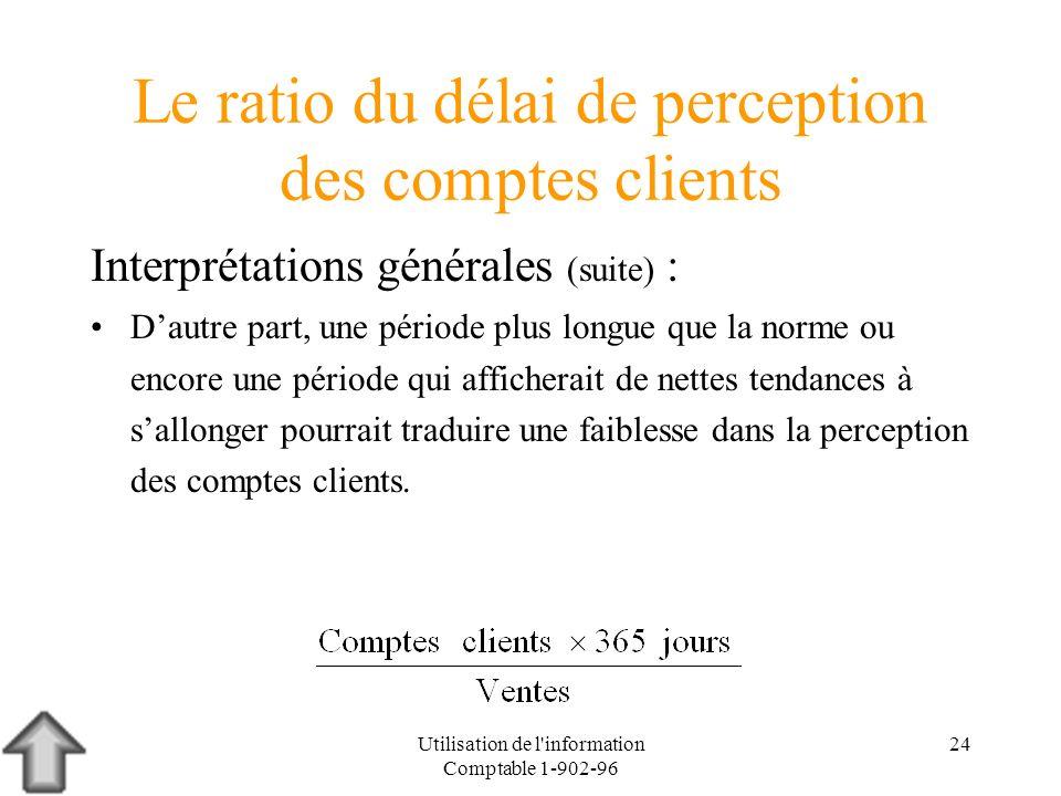 Utilisation de l'information Comptable 1-902-96 24 Le ratio du délai de perception des comptes clients Interprétations générales (suite) : Dautre part