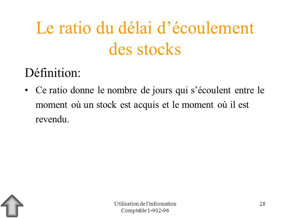 Utilisation de l'information Comptable 1-902-96 28 Le ratio du délai découlement des stocks Définition: Ce ratio donne le nombre de jours qui sécoulen