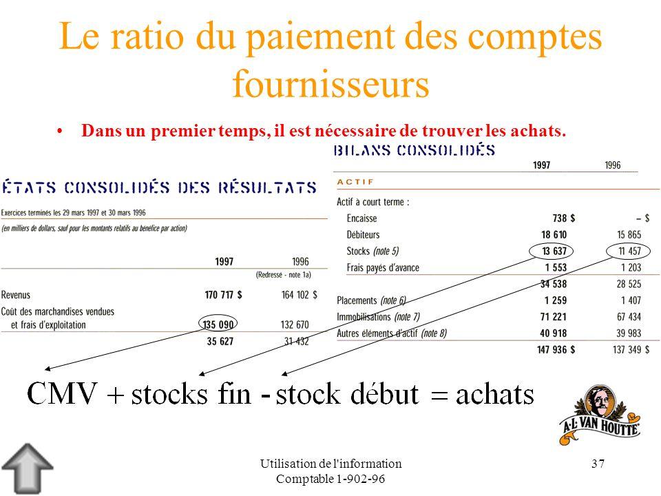 Utilisation de l'information Comptable 1-902-96 37 Le ratio du paiement des comptes fournisseurs Dans un premier temps, il est nécessaire de trouver l