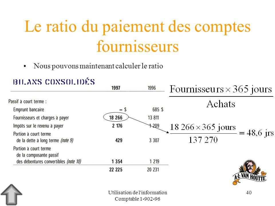 Utilisation de l'information Comptable 1-902-96 40 Le ratio du paiement des comptes fournisseurs Nous pouvons maintenant calculer le ratio