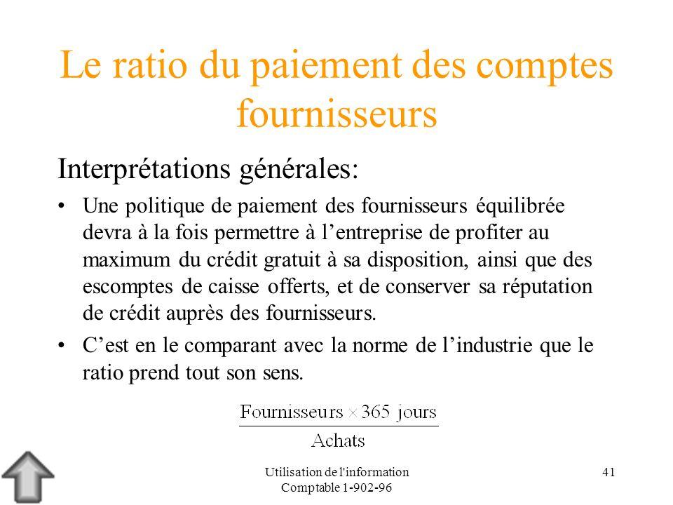 Utilisation de l'information Comptable 1-902-96 41 Le ratio du paiement des comptes fournisseurs Interprétations générales: Une politique de paiement