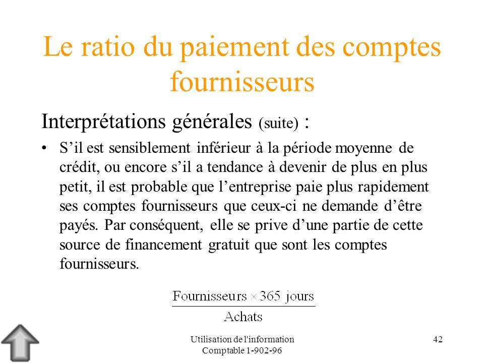 Utilisation de l'information Comptable 1-902-96 42 Le ratio du paiement des comptes fournisseurs Interprétations générales (suite) : Sil est sensiblem