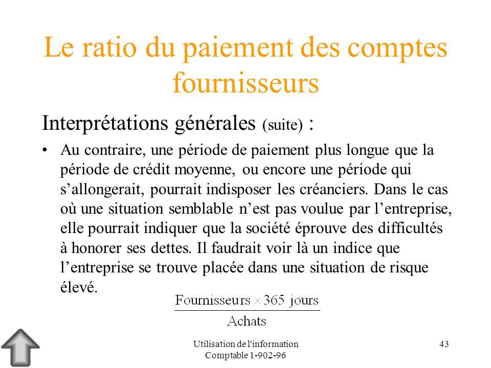 Utilisation de l'information Comptable 1-902-96 43 Le ratio du paiement des comptes fournisseurs Interprétations générales (suite) : Au contraire, une