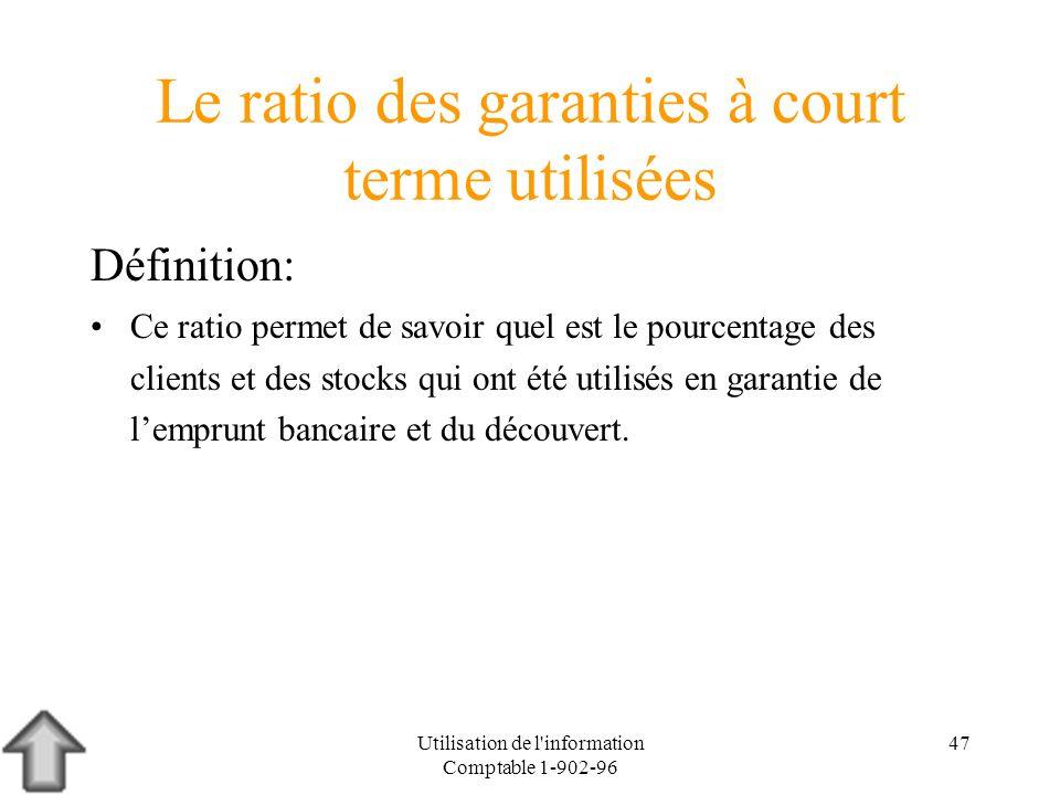 Utilisation de l'information Comptable 1-902-96 47 Le ratio des garanties à court terme utilisées Définition: Ce ratio permet de savoir quel est le po
