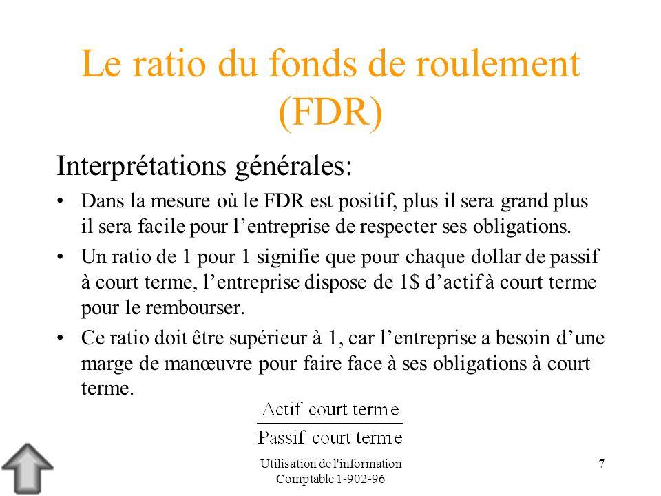 Utilisation de l'information Comptable 1-902-96 7 Le ratio du fonds de roulement (FDR) Interprétations générales: Dans la mesure où le FDR est positif
