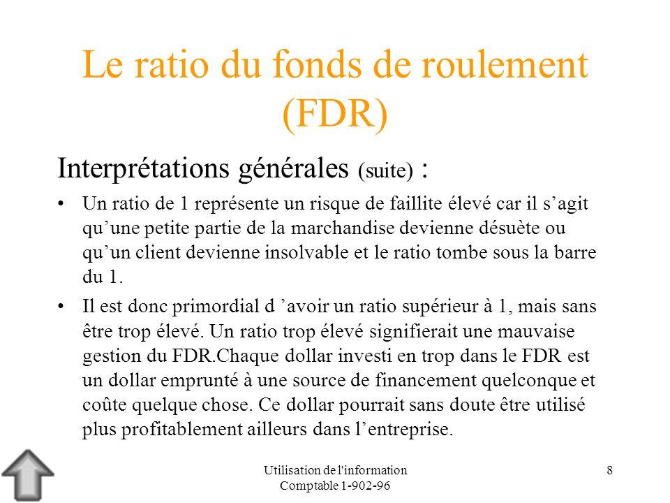 Utilisation de l'information Comptable 1-902-96 8 Le ratio du fonds de roulement (FDR) Interprétations générales (suite) : Un ratio de 1 représente un