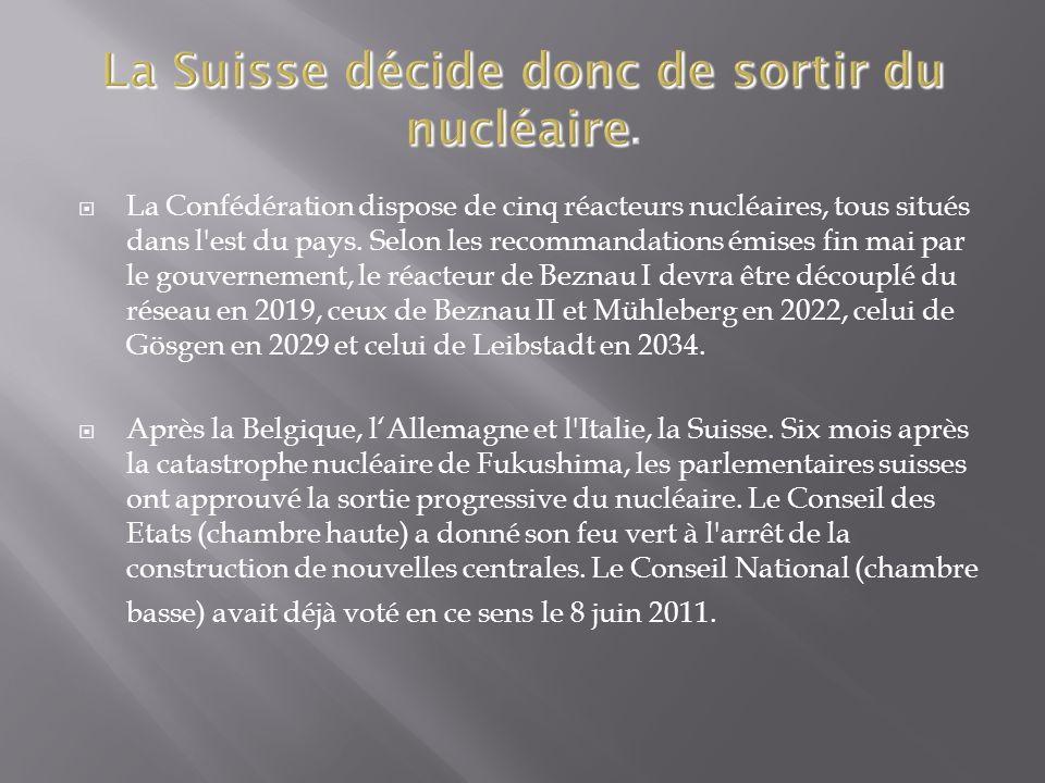 La Confédération dispose de cinq réacteurs nucléaires, tous situés dans l est du pays.