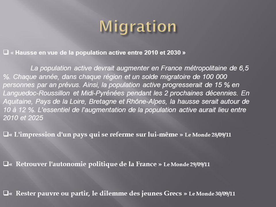 « Hausse en vue de la population active entre 2010 et 2030 » La population active devrait augmenter en France métropolitaine de 6,5 %.
