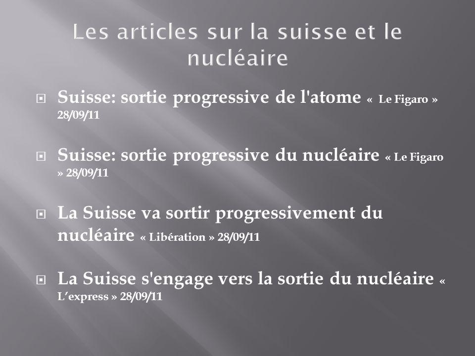 Suisse: sortie progressive de l atome « Le Figaro » 28/09/11 Suisse: sortie progressive du nucléaire « Le Figaro » 28/09/11 La Suisse va sortir progressivement du nucléaire « Libération » 28/09/11 La Suisse s engage vers la sortie du nucléaire « Lexpress » 28/09/11