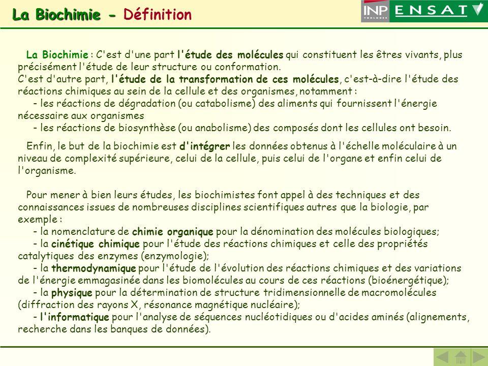 La Biochimie - La Biochimie - Définition La Biochimie : C'est d'une part l'étude des molécules qui constituent les êtres vivants, plus précisément l'é
