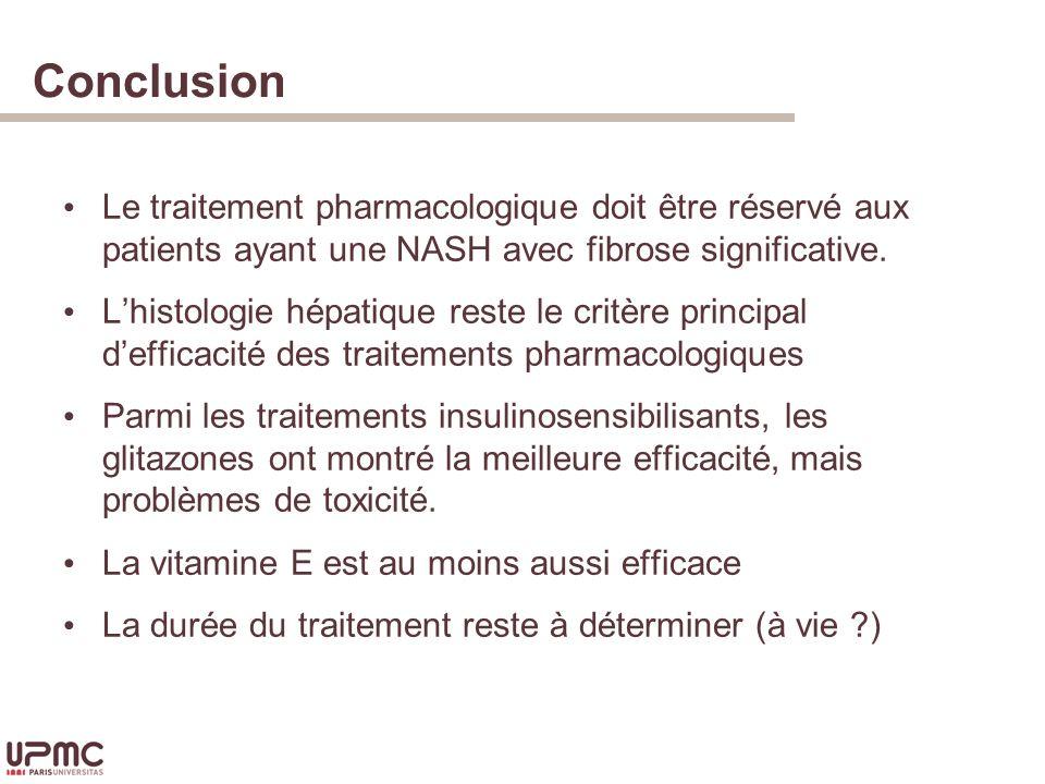 Conclusion Le traitement pharmacologique doit être réservé aux patients ayant une NASH avec fibrose significative.