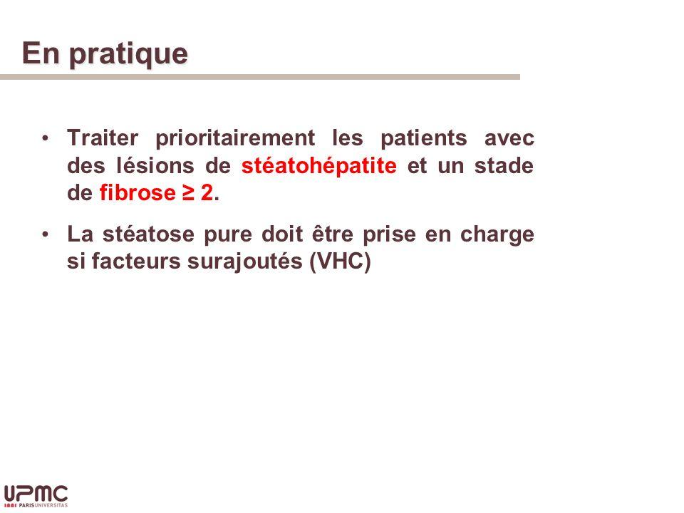 En pratique Traiter prioritairement les patients avec des lésions de stéatohépatite et un stade de fibrose 2.