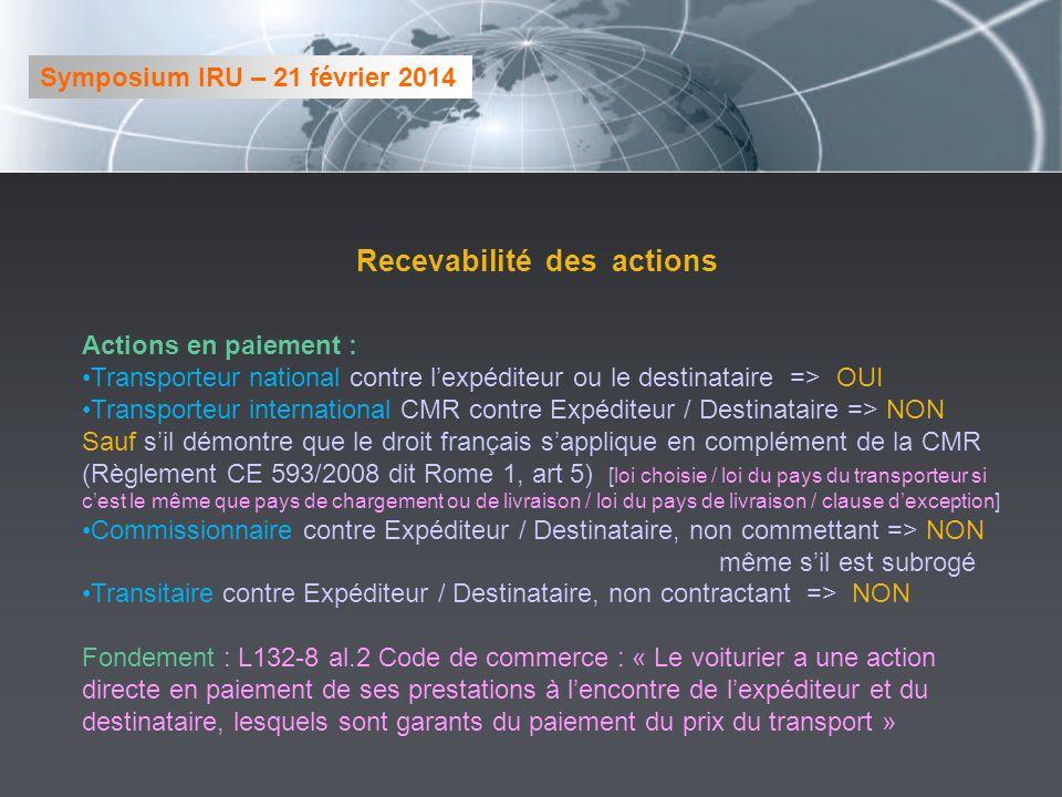 Recevabilité des actions Actions en paiement : Transporteur national contre lexpéditeur ou le destinataire => OUI Transporteur international CMR contr