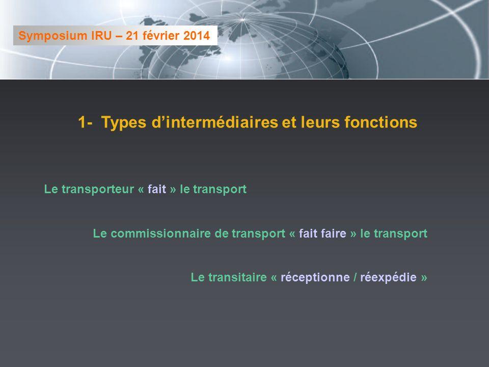 1- Types dintermédiaires et leurs fonctions Le transporteur « fait » le transport Le commissionnaire de transport « fait faire » le transport Le trans