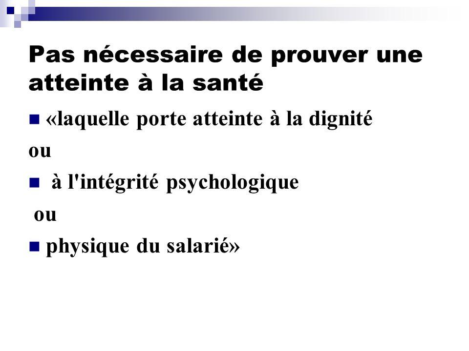 Pas nécessaire de prouver une atteinte à la santé «laquelle porte atteinte à la dignité ou à l'intégrité psychologique ou physique du salarié»