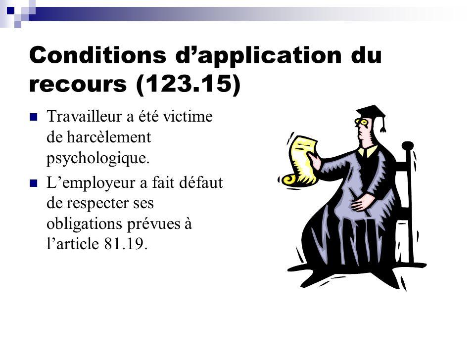 Conditions dapplication du recours (123.15) Travailleur a été victime de harcèlement psychologique. Lemployeur a fait défaut de respecter ses obligati