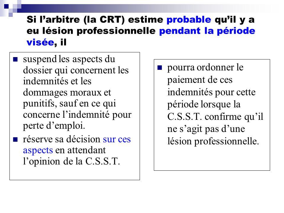 Si larbitre (la CRT) estime probable quil y a eu lésion professionnelle pendant la période visée, il suspend les aspects du dossier qui concernent les