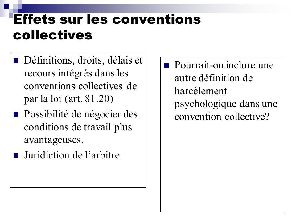 Effets sur les conventions collectives Définitions, droits, délais et recours intégrés dans les conventions collectives de par la loi (art. 81.20) Pos
