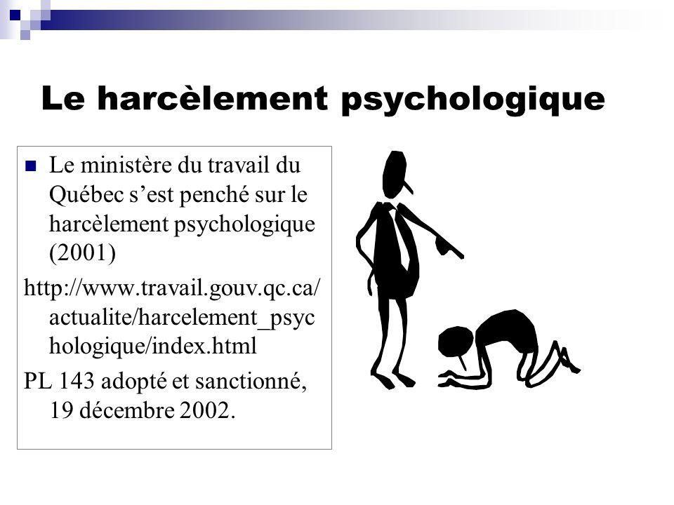 Le harcèlement psychologique Le ministère du travail du Québec sest penché sur le harcèlement psychologique (2001) http://www.travail.gouv.qc.ca/ actu