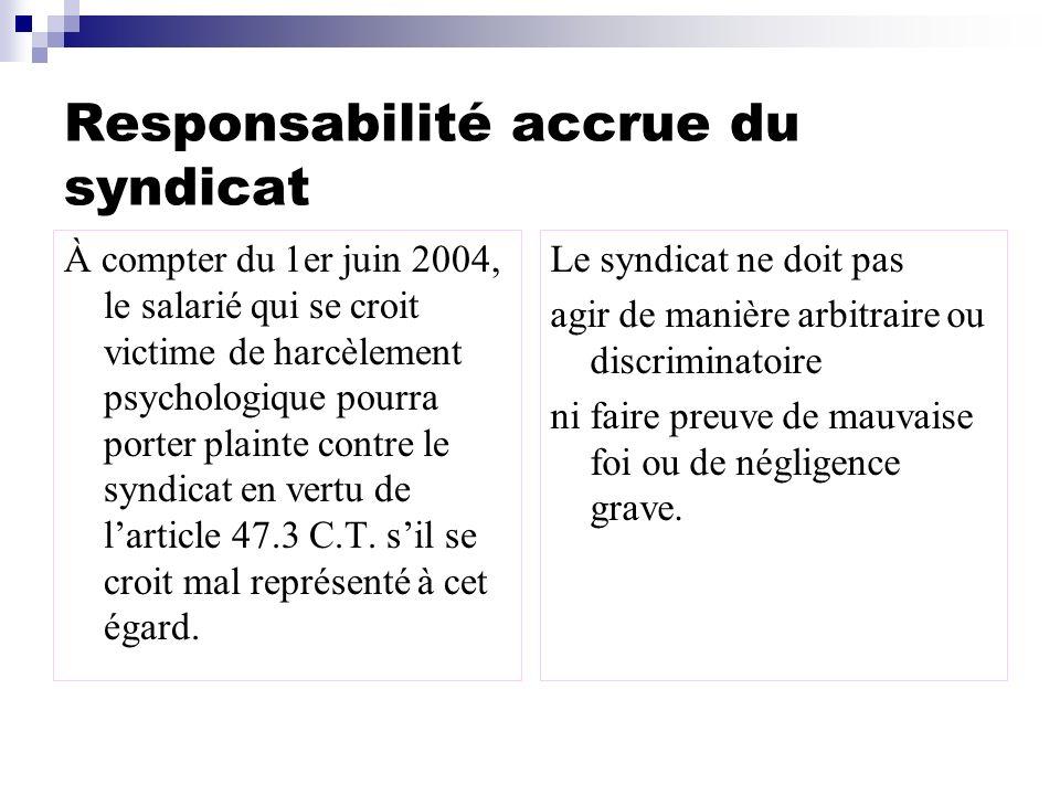 Responsabilité accrue du syndicat À compter du 1er juin 2004, le salarié qui se croit victime de harcèlement psychologique pourra porter plainte contr