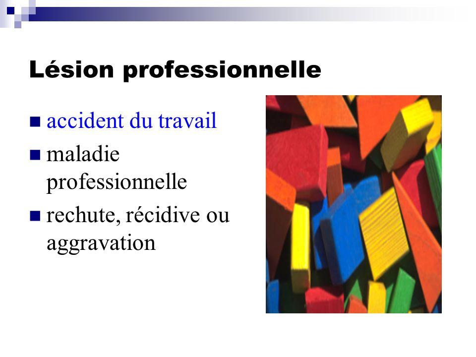 Lésion professionnelle accident du travail maladie professionnelle rechute, récidive ou aggravation