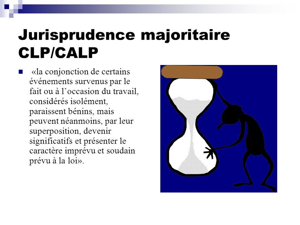Jurisprudence majoritaire CLP/CALP «la conjonction de certains événements survenus par le fait ou à loccasion du travail, considérés isolément, parais