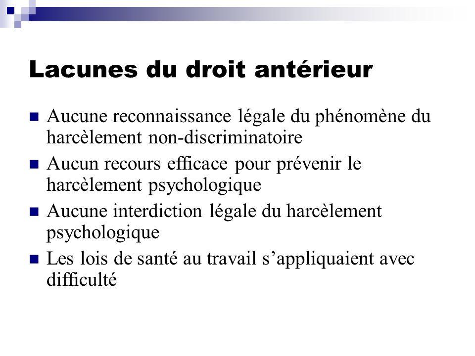 Lacunes du droit antérieur Aucune reconnaissance légale du phénomène du harcèlement non-discriminatoire Aucun recours efficace pour prévenir le harcèl