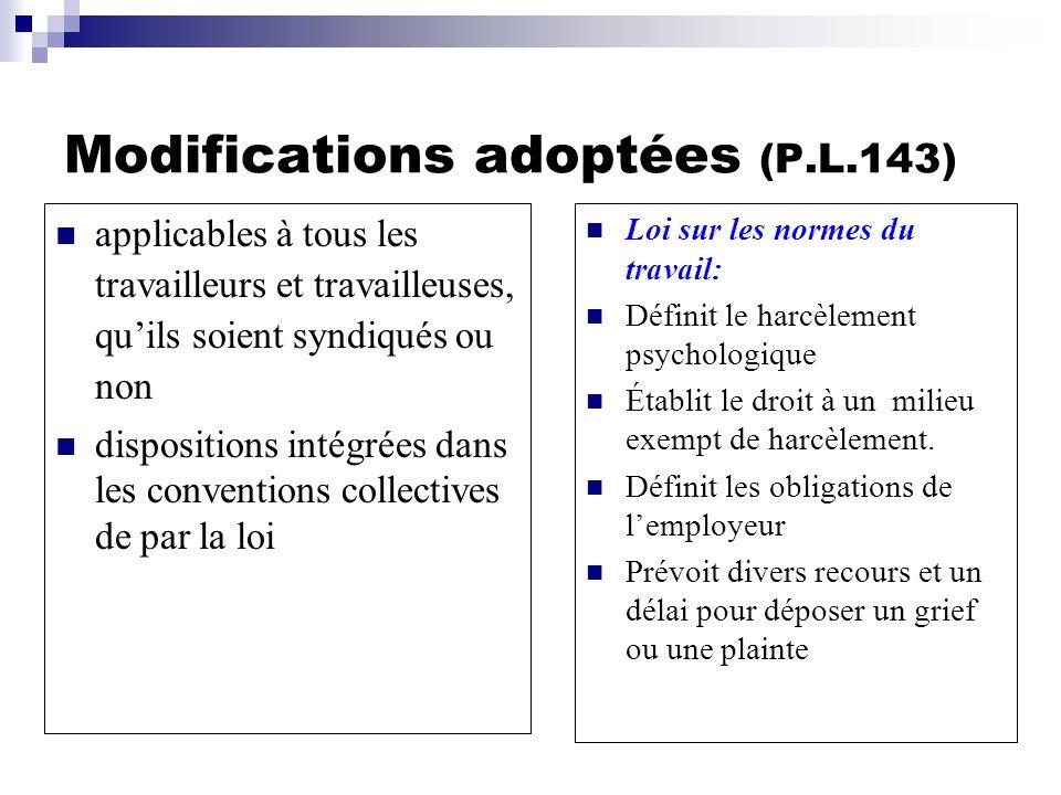 Modifications adoptées (P.L.143) applicables à tous les travailleurs et travailleuses, quils soient syndiqués ou non dispositions intégrées dans les c