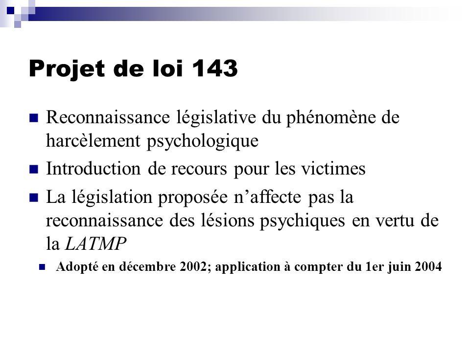 Projet de loi 143 Reconnaissance législative du phénomène de harcèlement psychologique Introduction de recours pour les victimes La législation propos