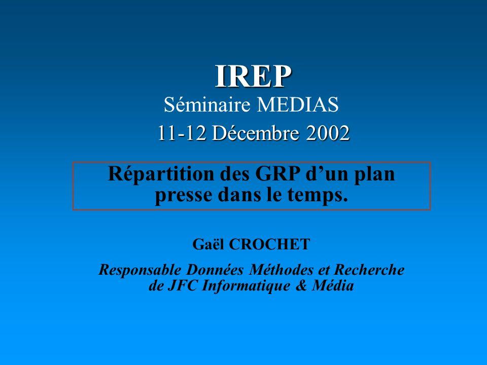 IREP Répartition des GRP dun plan presse dans le temps. 11-12 Décembre 2002 Séminaire MEDIAS Gaël CROCHET Responsable Données Méthodes et Recherche de