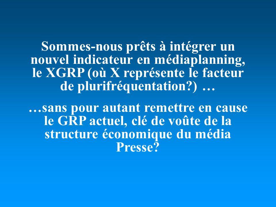 Sommes-nous prêts à intégrer un nouvel indicateur en médiaplanning, le XGRP (où X représente le facteur de plurifréquentation?) … …sans pour autant remettre en cause le GRP actuel, clé de voûte de la structure économique du média Presse?