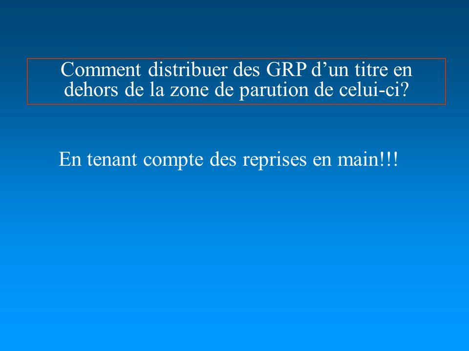 Comment distribuer des GRP dun titre en dehors de la zone de parution de celui-ci.