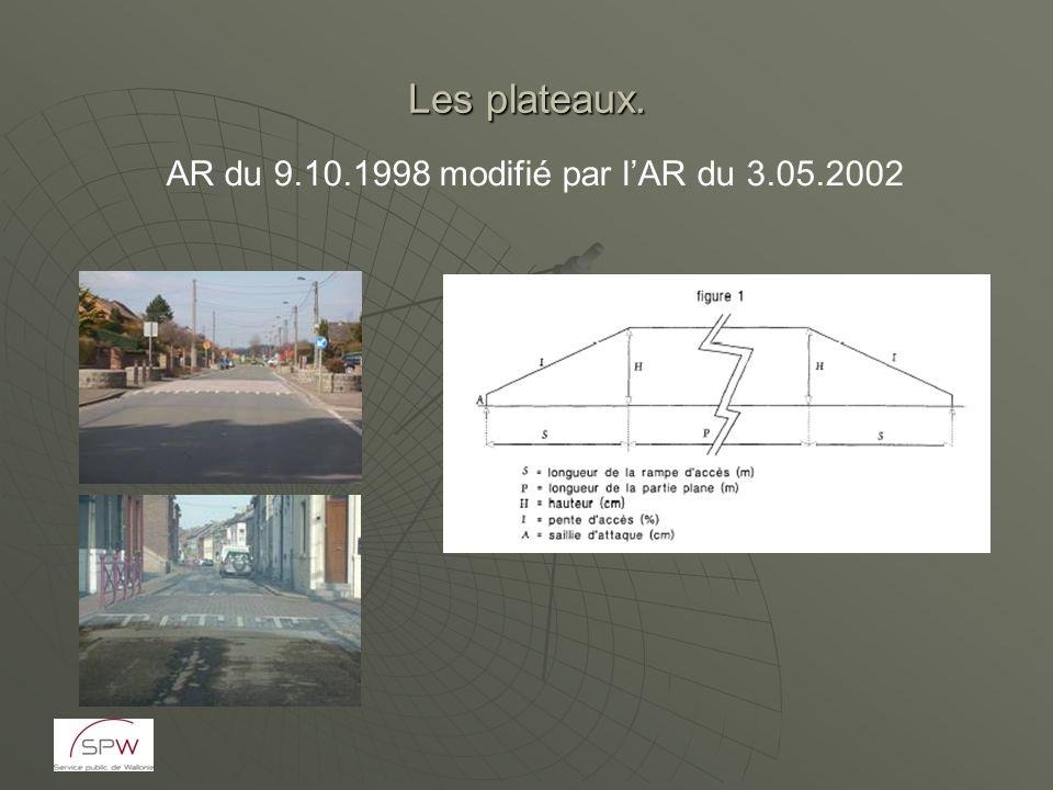 Les plateaux. AR du 9.10.1998 modifié par lAR du 3.05.2002