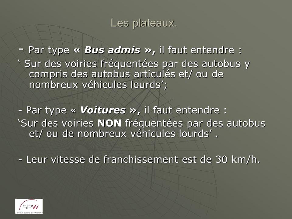 Les plateaux. - Par type « Bus admis », il faut entendre : Sur des voiries fréquentées par des autobus y compris des autobus articulés et/ ou de nombr