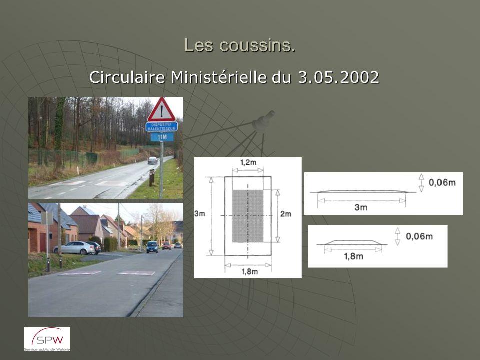 Les coussins. Circulaire Ministérielle du 3.05.2002